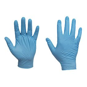 Cleangrip Nitrile Powdered Disposable Gloves Blue X Large Pk100