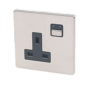 1G 13A Single Pole Switched Socket Stainless Steel with Black Insert