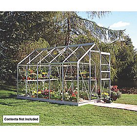 Halls Popular Framed Greenhouse Aluminium 6 x 10