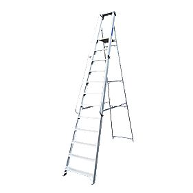 Lyte Heavy Duty Platform Ladder & Safety Handrails Aluminium 12 Treads 3.2m