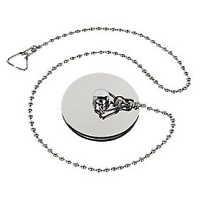 "Chrome Bath Plug & 16"" Chain"