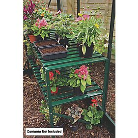 "Halls Greenhouse 2-Tier Staging Green Aluminium 3'6"" x 1'7"" x 2'4"""