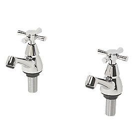 Swirl Quadra Bathroom Basin Taps Chrome-Plated Pair