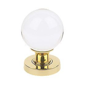 Jedo Frelan Victorian Glass Mortice Knob Pair Polished Brass 50mm