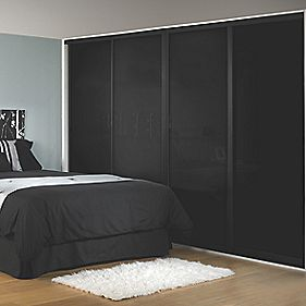Sliding Wardrobe Doors Black Frame Black Glass Panel 4-Door 2943 x 2330mm