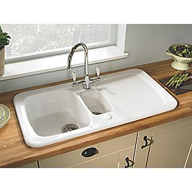 Astracast Aquitaine Ceramic 1-1/2-Bowl Square Inset Sink w/Reversible Drainer
