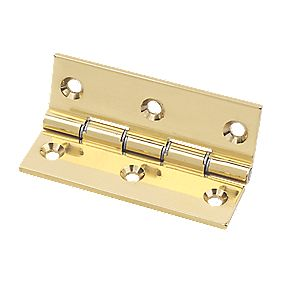 Eclipse Double Steel Washered Hinge Polished Brass 76 x 51mm Pack of 2