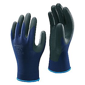 Showa Best 380 Secure Handling Nitrile Foam Grip Gloves Blue Large