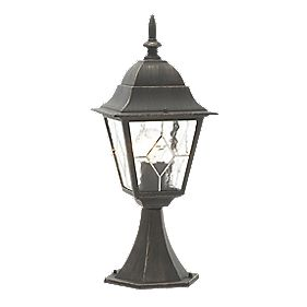 Oxford Post Light Black Brushed Gold Effect W