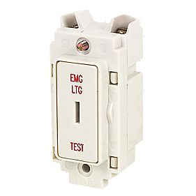 Crabtree 20A DP 1-Way Key Switch Marked Emergency Lt Test