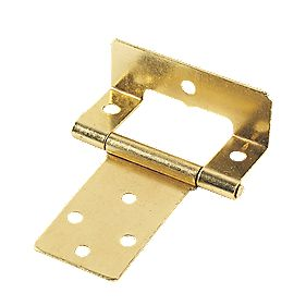 Steel Cranked Hinge Electro Brass 50mm Pack of 2