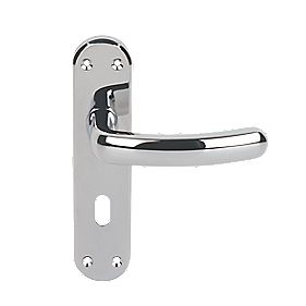 Serozzetta Shape Lever on Backplate Lock Door Handles Pair Polished Chrome