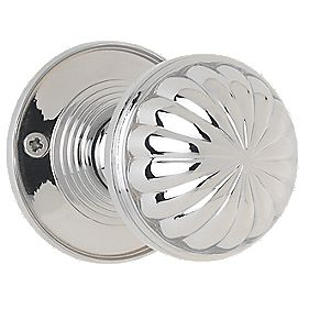 Jedo Fluted Mortice Knobs Pair Polished Chrome