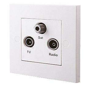 British General TV, FM & Satellite Screened Triplex Socket White
