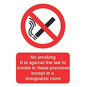 """No Smoking Except In A Designated Room"" Sign 297 x 210mm"