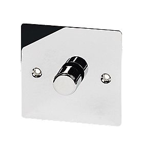 Volex 1-Gang 2-Way 400W M/LV Dimmer Pol Chrome Flt Plt