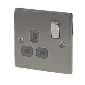 British General 13A 1-Gang DP Switched Plug Socket Black Nickel
