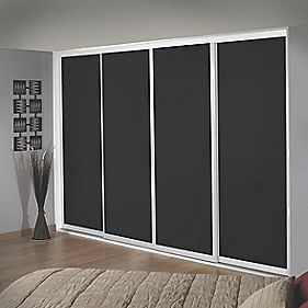 Sliding Wardrobe Doors White Frame Black Glass Panel 4-Door 2943 x 2330mm