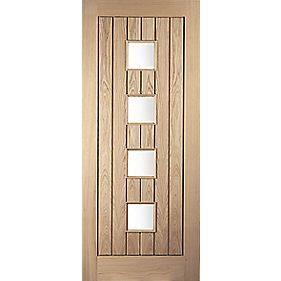 Jeld-Wen Whitehall 4-Light Glazed Exterior Door Oak Veneer Universal Application (Non-Handed) White Oak Veneer 813 x 2032mm