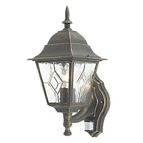 Oxford Wall Light with PIR Black Brushed Gold Effect 60W