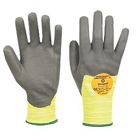 Marigold Industrial Tropique P3000 Cut 3 PU/Nitrile Gloves Grey/Yellow Lge