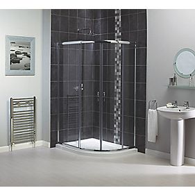 Aqualux Semi-Framed Shine Off-Set Quad Shower Enclosure LH/RH Silver 1200mm