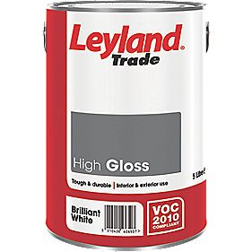 Leyland High Gloss Paint Brilliant White 5Ltr