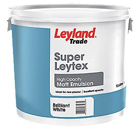 Leyland Super Leytex Matt Emulsion Paint Brilliant White 15Ltr