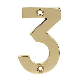 Door Numeral No. 3 Polished Brass Effect 75mm