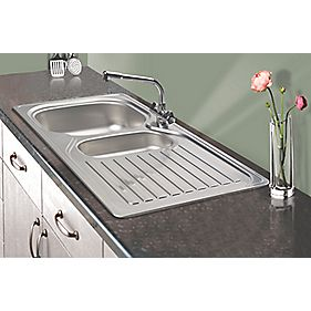 Franke 1-1/2 Bowl Kitchen Sink with Tap & Drainer 18 / 10 Stainless Steel 965 x 500mm
