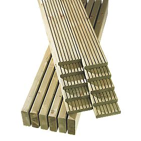 Finnlife Finnforest Decking Pack of 32 Lengths Natural Timber 4.8 x 3.6m