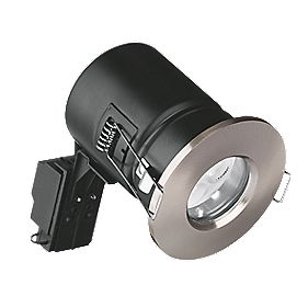 Aurora Compact Fixed Round Bathroom Fire Rated LED Downlight Sat. Nkl 240V