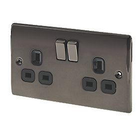 British General 13A 2-Gang DP Switched Plug Socket Black Nickel