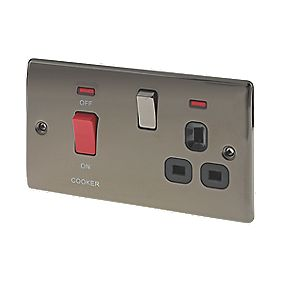 BG 45A DP Cooker Switch with 13A Switched Plug Socket & LED Black Nickel