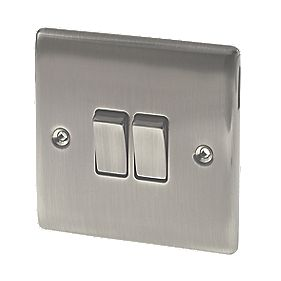 British General 2-Gang 2-Way 10AX Light Switch Brushed Iridium
