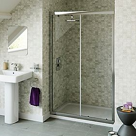 Sliding Shower Door Chrome Effect 1185mm