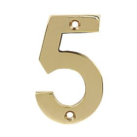 Door Numeral No. 5 Polished Brass Effect 75mm