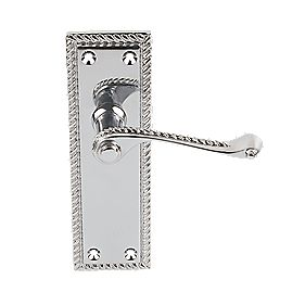Georgian Long Backplate Scroll Latch Door Handles Pair Polished Chrome