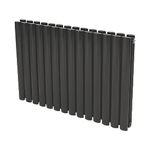 Reina Neva Double Panel Designer Radiator Black 550 x 590mm 3364BTU