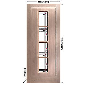 Jeld-Wen Lenzie 4-Light Glazed Exterior Door Oak Veneer 838 x 1981mm