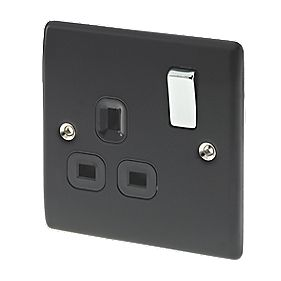 British General 13A 1-Gang DP Switched Socket Matt Black