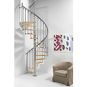 Fontanot Nice 1 Wooden Tread Spiral Staircase Finished 1100mm