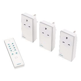 Remote On/Off Socket Kit w/ Li-Ion Powered Remote Control 13A White