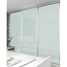 3 Door Sliding Wardrobe Doors White Frame White Glass Panel 910 x 2330mm
