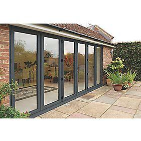 Unbranded Bi-Fold Double-Glazed Patio Door Grey Aluminium 4708 x 2094mm