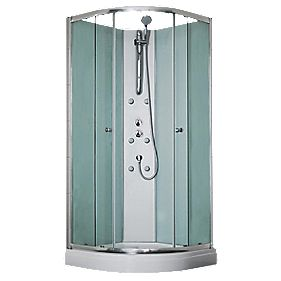 Aqualux Slot & Lock Corner Quadrant Shower & Enclosure Silver Eff 900mm