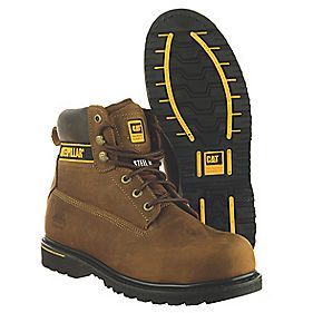 Cat Holton S3 Safety Boots Brown Size 8