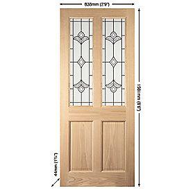 Jeld-Wen Wetherby 2-Light Glazed Exterior Door Oak Veneer Universal Application (Non-Handed) White Oak Veneer 838 x 1981mm
