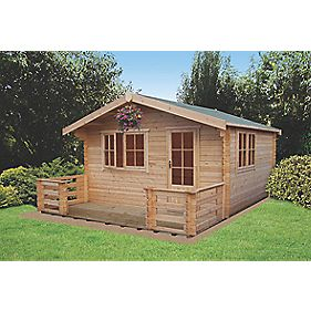 Shire Kinver Felt Roof Log Cabin 3.6 x 4.2 x 2.5m