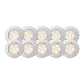 LED Cosa Round Cabinet Display Light Kit Satin White Pack of 10